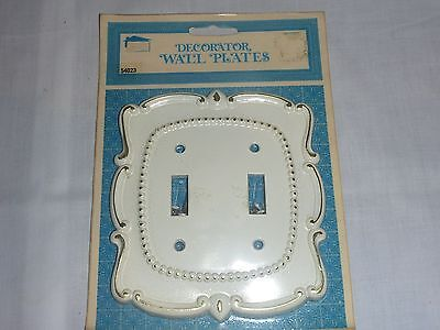NOS Vintage Mid Century Double Switch Plate-White Gold Hollywood Regency  #54023