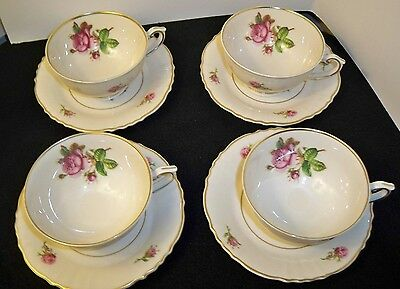 "(Set of 4) Syracuse China ""VICTORIA"" CUPS and SAUCERS"