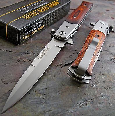 "9"" Tac Force Spring Assisted Tactical Rescue Wood Folding Pocket Knife Open"