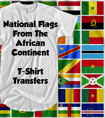 Flags In Africa - Iron On T-Shirt Transfer - [ a5 ]