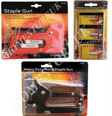 HEAVY DUTY METAL OR MEDIUM DUTY STAPLER GUN OR 2400pcs STAPLES DIY UPHOLSTERY