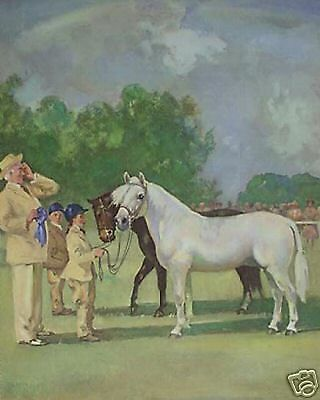 WELSH MOUNTAIN PONIES AT HORSE SHOW PONY VINTAGE Art Print by Wesley Dennis