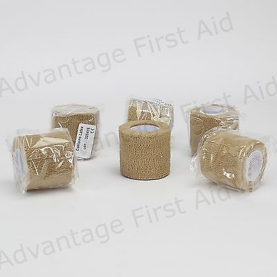 Tan Cohesive Elastic Bandage Head Sports Vet Wrap 6 Rolls of  5.0 cm x 4.5m