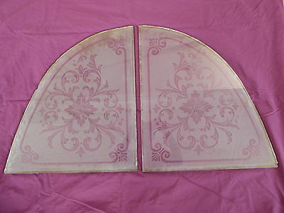 Antique Heavy Victorian Etched Glass Windows  - Matched Pair - Late 1800's