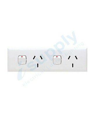 Narrow Skirting Double GPO Power Point Switch 10 amp