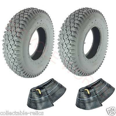 2X Tyres & Tubes 4.10 / 3.5-6 4 Ply Grey Wheelchair Gopher Electric Scooter 937
