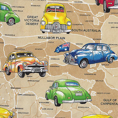 Holden Cars on Beige Australian Map Quilt Fabric Craft Fat Quarter or Metre NEW