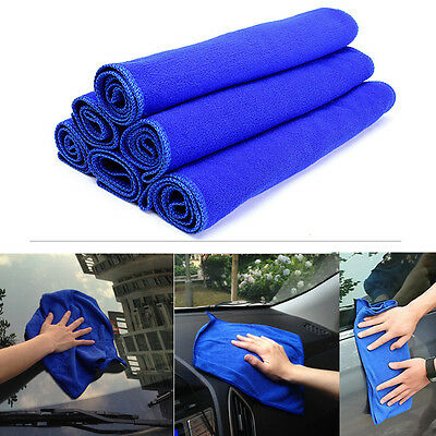 6pcs Soft Microfiber Absorbent Towel Car Cleaning Wash Cloth Multi-function Blue