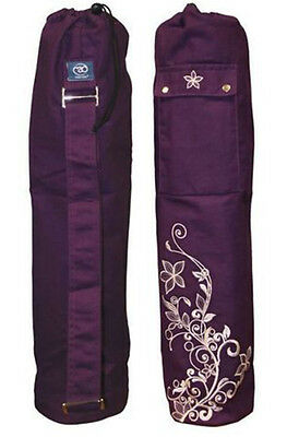 035143 SPORTS DEAL Fitness Mad Cotton Wildflower Yoga Pilates Mat Bag 60cm Grape