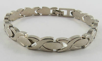 "Br-60 Ladies 7"" Sterling Silver Bracelet. Approx 1/4"" Wide. See Pictures"