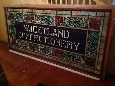 SWEETLAND CONFECTIONERY -- circa 1900 stained glass window