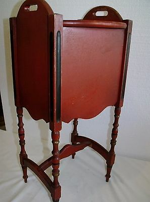CUSHMAN SMOKER Stenciled Wood Tobacco Smoking Stand Cabinet Table Vintage Red