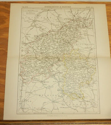 1883 Antique COLOR Map/NORTHAMPTON & BEDFORD, England