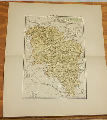 1881 Antique COLOR Map/LANARK (SCOTLAND)