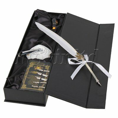 White Antique Swan Feather Quill Dip Bussiness Pen With Ink Bottle Box Gift