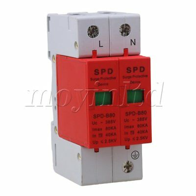 2P 40~80KA Din Rail Surge Protection Device SPD Lightning Arrester Red