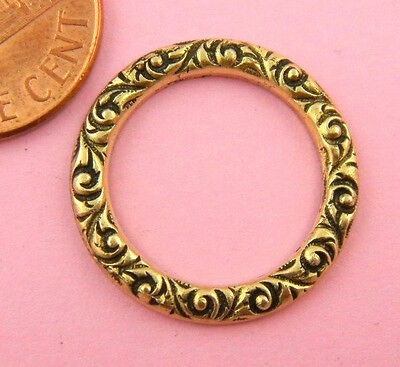Beautiful Floral Textured Antique Brass Ring- 1 Pc