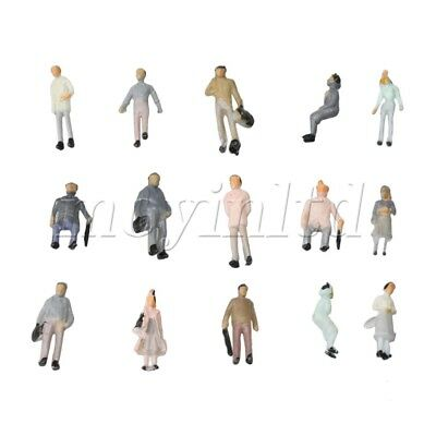 100 Pure colour Mix Scale Figures 1:150 Painted Colorful People Passenger Street