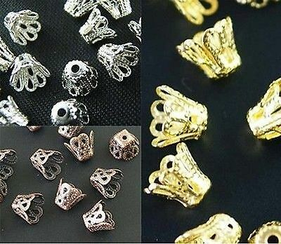 Wholesale Gold /Silver/Copper Plated Cup Bead Caps Jewelry Findings 6/8mm