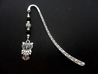 A Tibetan Silver  Owl  Charm & Black Crystal Bead  Bookmark. New.