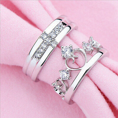 High Quality Plated Silver Prince & Princess Imperial Crown Adjustable Ring Gift
