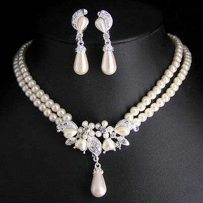 Wedding Bridal pearl &crystal necklace earring set S304