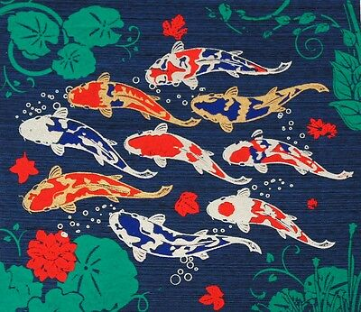 Thai Handmade Lucky 9 Carp Fishes Silk Screen Vintage Art Picture Wall Deco Blue