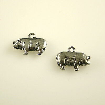 Pig - 5 Lead Free Antique Silver Tone Pewter Charms