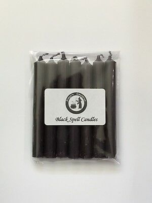 Witches Spell Candles Pack of 6 Black 10cm tall ~ Altar ~ Ritual ~ Wicca ~ Pagan