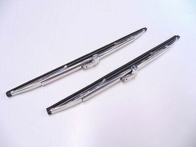 """12"""" Polished Stainless Steel Front Windshield Wiper Blades Pair - New"""