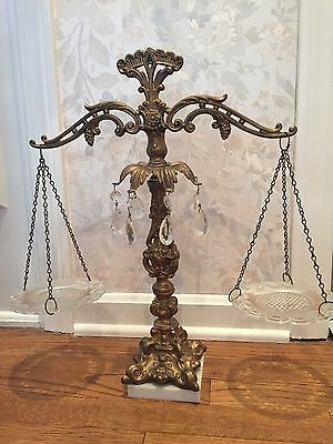 Vintage SCALES OF JUSTICE Scale-Crystal Prisms, Marble Base glass dishes- Italy