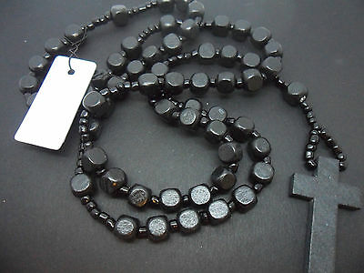 A Mans Or Ladies Long Black Wooden Cross Crucifix Rosary Necklace. New