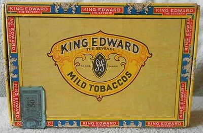 Vintage King Edward Invincible 6 Cents Cigar Box with 1951 Tax Stamp