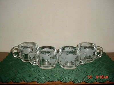 "4-Pc Nestle-Nescafe ""world"" Globe 3"" Coffee Cups/vintage/clear/clearance!"