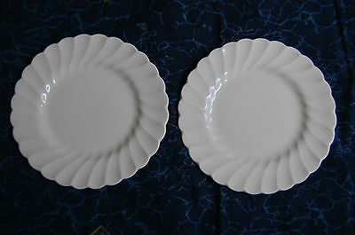 MYOTT STAFFORDSHIRE OLDE CHELSEA WHITE ~ 2 BREAD PLATES ~ VG CONDITION