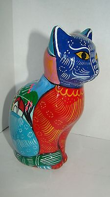 Handmade Hand Painted Mexican Terra Cotta Pottery Cat