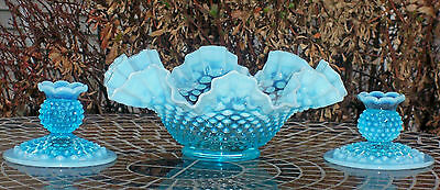 Rare 1950's Fenton Blue Opalescent Hobnail Console Set - 3 Pieces (mint)