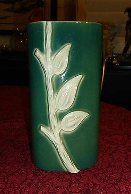 Vintage California Pottery Green Earth Leaf Branch Oval Vase