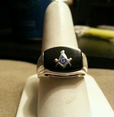 Sterling silver masonic ring size 10 onyx stone solid back