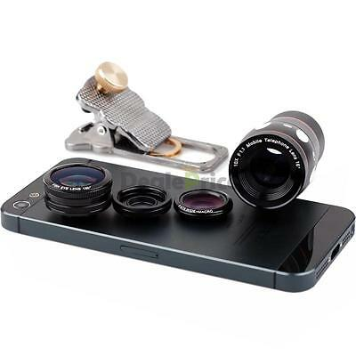 4in1 Clip Fish Eye Wide Angle Micro Telephoto Lens Camera for iPhone 6 Plus 5S 5