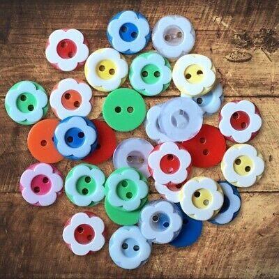 40 Wood Butterfly Buttons - Mixed Polka Dot - Craft - Scrapbook - Sewing - Cards