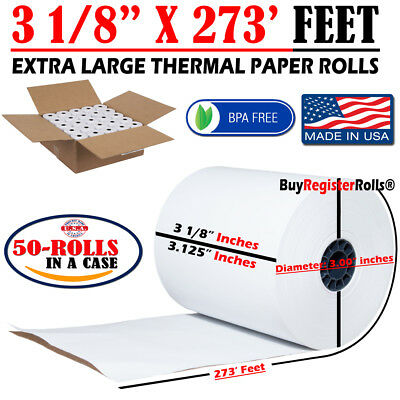 """3 1/8"""" x 273' FT 50 EXTRA LARGE SIZE THERMAL ROLLS - BPA FREE - MADE IN USA."""
