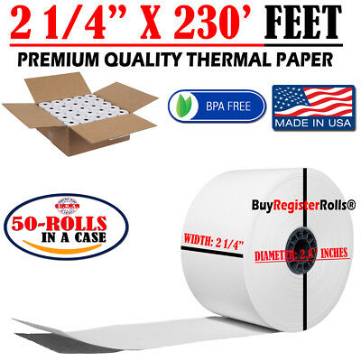"2 1/4"" (58mm) 2.25"" WIDTH 230' 50 ROLLS IN A CASE THERMAL PAPER ROLLS 7/16"" CORE"