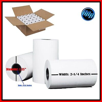 "2 1/4"" (58mm) 2.25"" WIDTH 50' 50 ROLLS IN A CASE THERMAL PAPER ROLLS 1/2"" CORE"