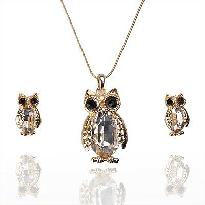 14k Gold Filled Owl Austrian Crystal White Sapphire Necklace Earrings Set GP3804