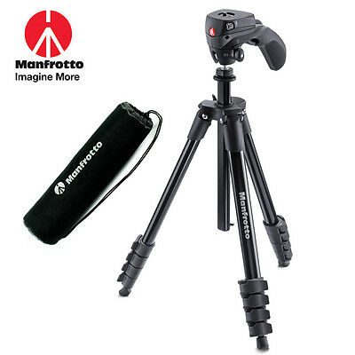 Manfrotto Black Compact Action Aluminum Tripod with Bag Mfr # MKCOMPACTACN-BK