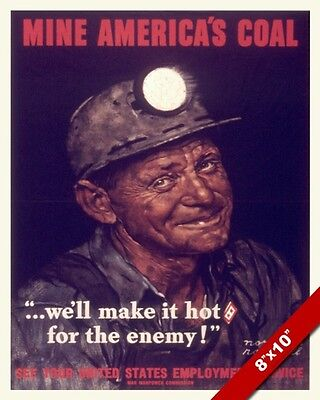 Norman Rockwell Coal Miner Wwii Propaganda Poster Painting Real CanvasArt Print