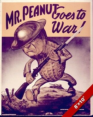 Mr Peanut Goes To War Us Wwii Propaganda Poster Painting Real CanvasArt Print