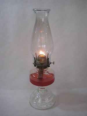 """OLD ANTIQUE GLASS FOOTED OIL LAMP WITH WICK & CHIMNEY, 16 1/2"""" TALL X 5"""" WIDEST"""