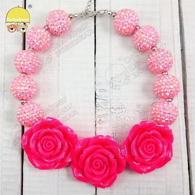Rose Charm Pink Chunky Bubblegum Candy Sparkle Beads Chain Kid Necklace Jewelry